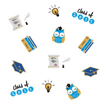 class of 2015, lightbulb, owl, graduate, graduation, cap, knowledge, diplomas, feather pen, books, education, icon