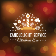 Christmas Eve Candlelight Service Invitation. Blurry Bokeh Background