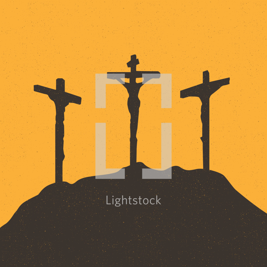 illustration of three crosses at crucifixion