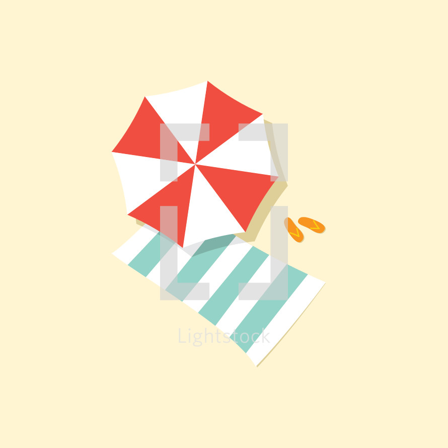 beach umbrella and towl