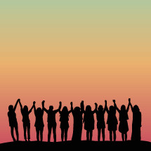 silhouette of women with raised hands.