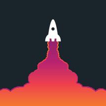rocket ship and cloud of smoke