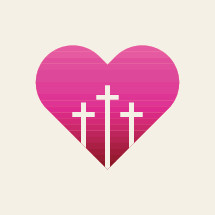 Silhouette of a Heart with Three Crosses.