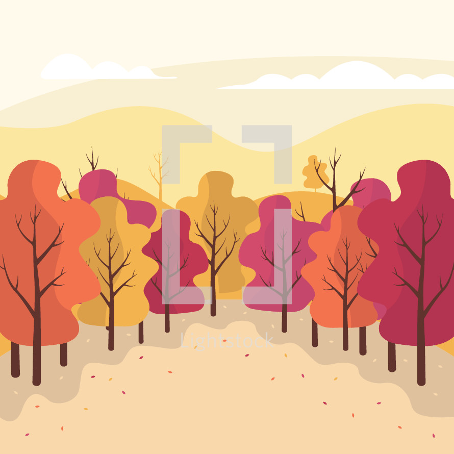 fall forest vector