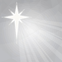 A Christmas background with a star and silver sky.