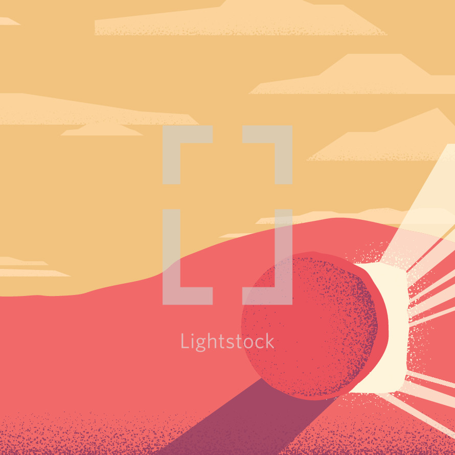 An illustration of the empty tomb on Easter morning with room for text.