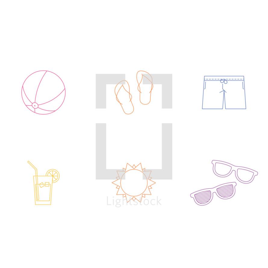 beach ball, summer, pitcher, lemonade, sunshine, sun, sunglasses, shades, shorts, flip flops, icon, icon set