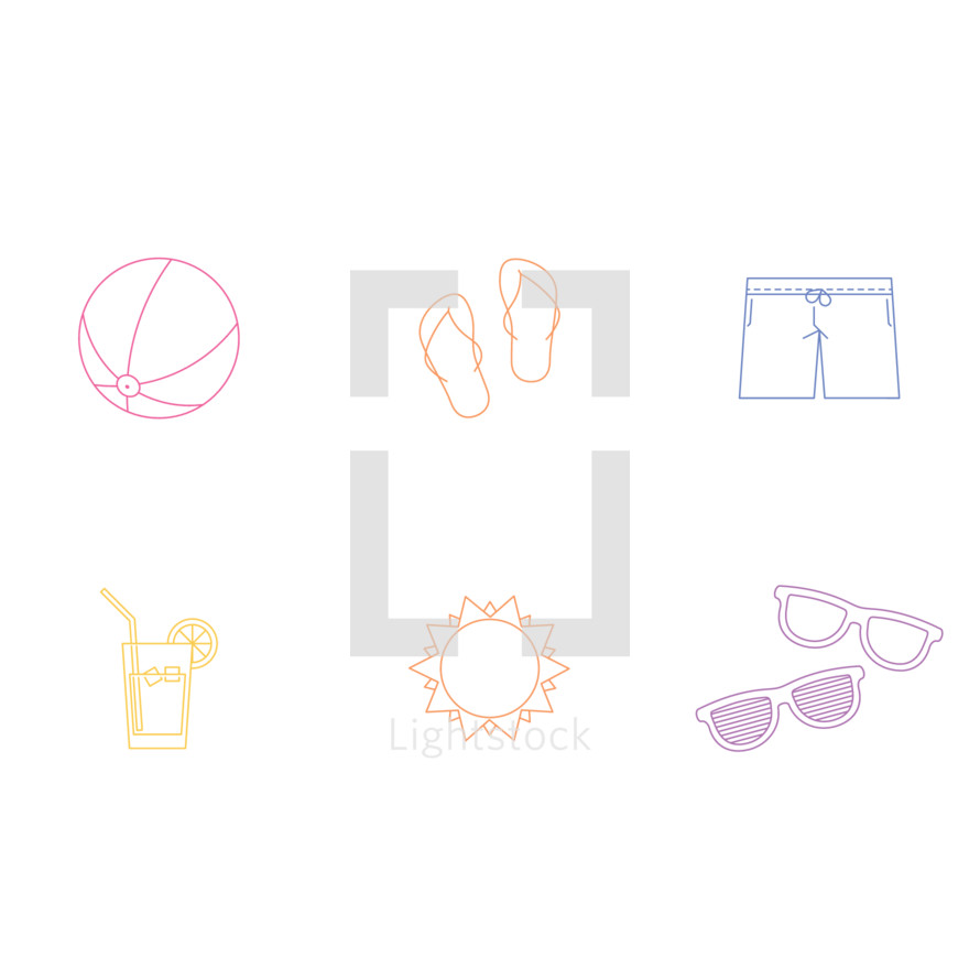 beach ball, summer, pitcher, lemonade, sunshine, sun, sunglasses, shades, shorts, flip flops, icon, icon set