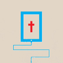connected tablet with cross on screen.