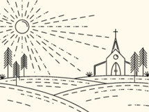 line drawn rural church