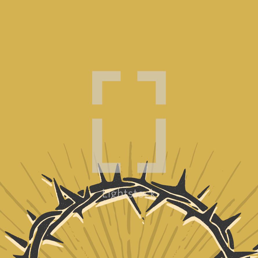 hand drawn crown of thorns with sunburst.