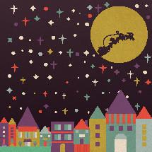 Santa's sleigh over a city