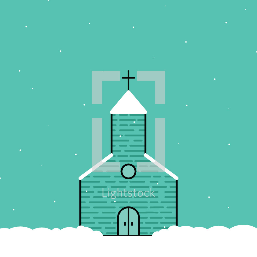 a church in snow icon