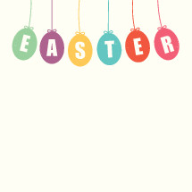 Easter sign with hanging Easter eggs