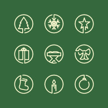 Christmas elements icons set.