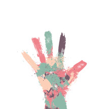 colorful painted hand illustration.