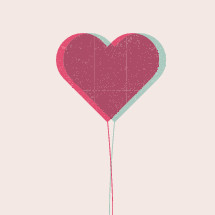 Valentine's day heart-shaped balloon illustration.