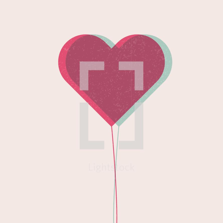 Valentine's day heart-shaped balloon illustration.