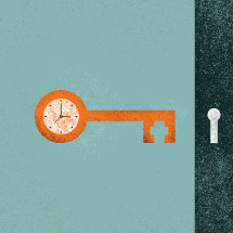 key and clock conceptual illustration.