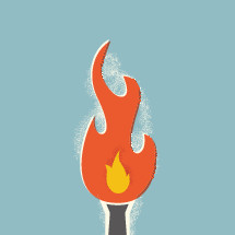 illustration of torch with flame.