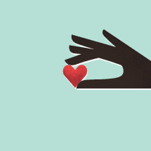 illustration of hand holding a heart.
