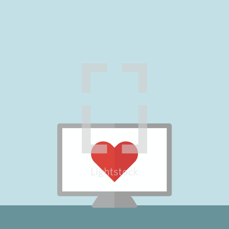 heart on a computer screen