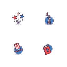 Fourth of July icons