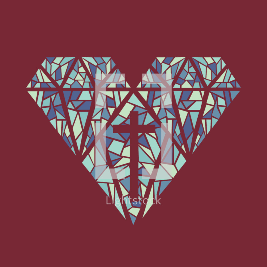 heart and cross stained glass icon