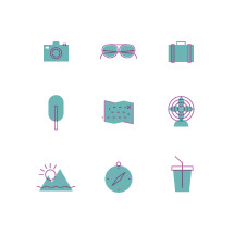 summer travel icons