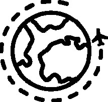 Icon of Airplane travelling around a globe