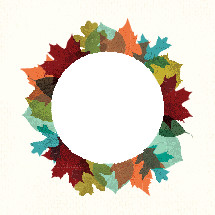 fall leaves wreath border.