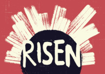 Risen lettering on a tomb graphic