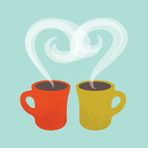 two coffee cups and steam in the shape of a heart