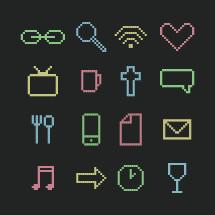 pixel style icons set.