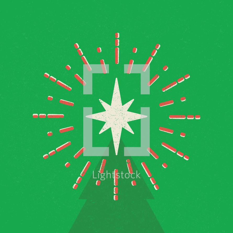 Retro Christmas tree with star.