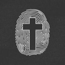 cross in a finger print