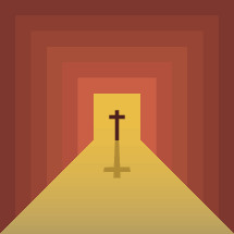 abstract path leading to a cross