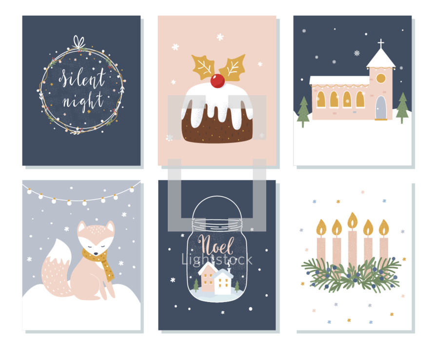 Set of Christmas and Winter Holidays Cards. Advent Wreath, Church and Lettering Signs