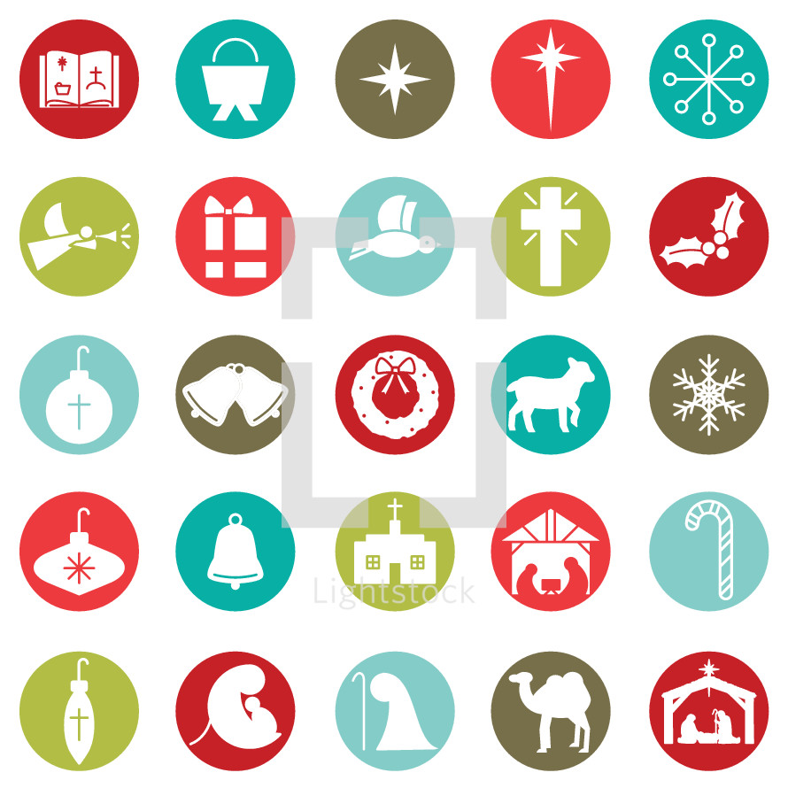 Christmas circle icon set including Bible, manger, star, snow flake, angel, present, dove, cross, holly, bulb, ornament, bell, bells, wreath, lamb, church, nativity, candy cane, Mary, Joseph, Jesus, camel, worship.