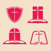 Bible, shield, cross, altar, icon