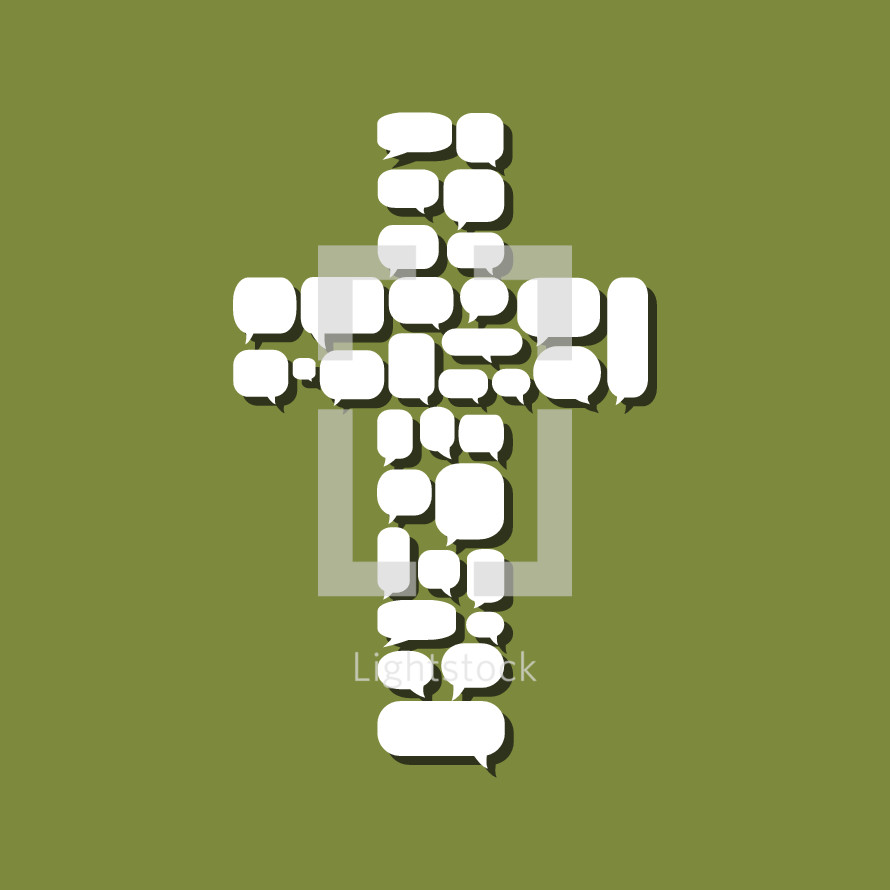 cross made of thought bubbles.