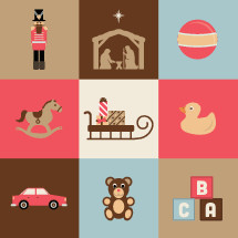 Christmas toy icons.  Nutcracker, nativity, ball, rocking horse, presents, gifts, sleigh, rubber ducky, duck, car, teddy, bear, letter blocks.