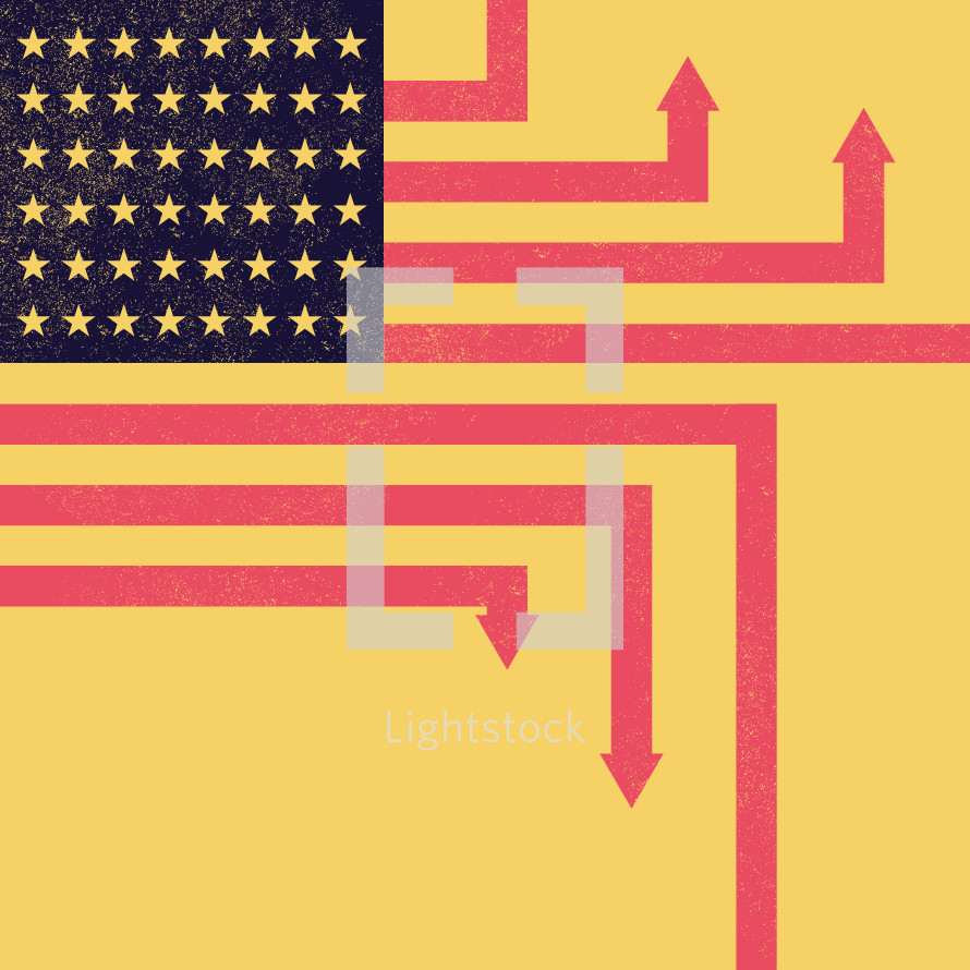 Abstract American flag with upward and downward pointing arrows.