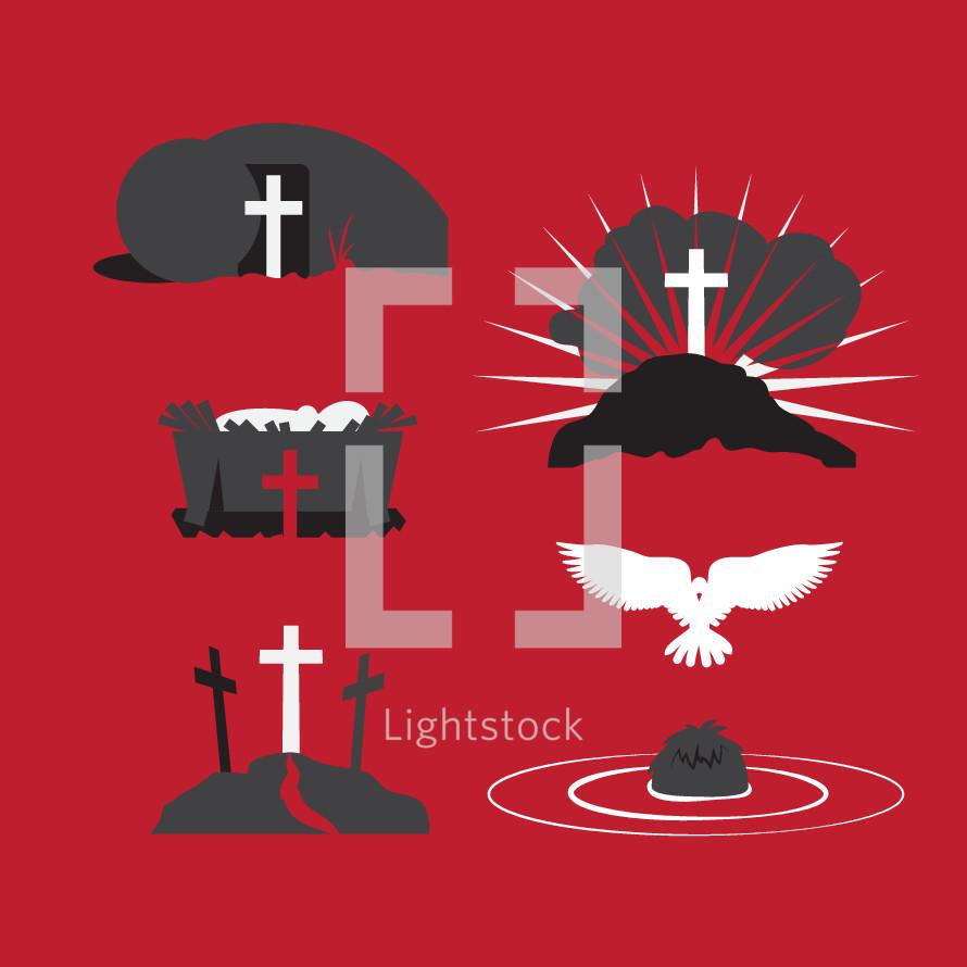 Ministry of Jesus: nativity,  baptism, crucifixion, resurrection, ascension
