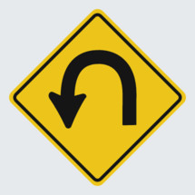 u turn road sign