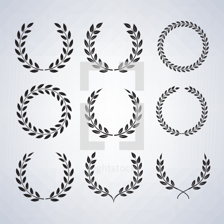 Selection of  Laurel Wreaths - victors crowns, nine variants.