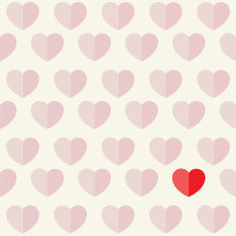 single red heart and heart pattern