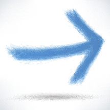 Blue arrow sign painted by brush stroke with drop shadow. Graphic element for design saved as an vector illustration in file format EPS
