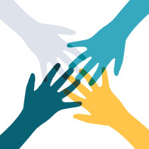 volunteering hands illustration.