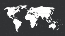white world map on a dark background